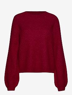 Maville Knit Lurex O-Neck - ROSE RED