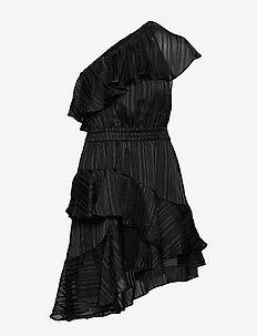 Glamly One-Shoulder Short Dress - BLACK