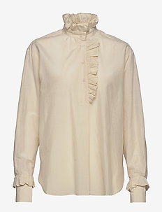 Frillo LS Blouse - long sleeved blouses - eggnog