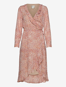 Floral LS Wrap Dress - omslagskjoler - apricot brandy