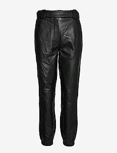 Indie MW Leather Trousers - skinnbyxor - black