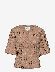Milly SS Blouse - blouses korte mouwen - praline