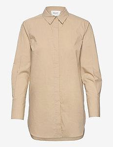 Larkin LS Classic Shirt - langærmede skjorter - humus