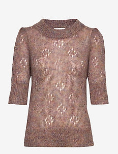 Rossi Knit SS O-Neck - stickade toppar & t-shirts - light mahagony