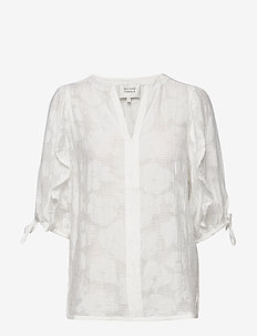 Mila SS Blouse - short-sleeved blouses - white alyssum
