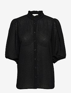 Tara SS Shirt - kortärmade blusar - black
