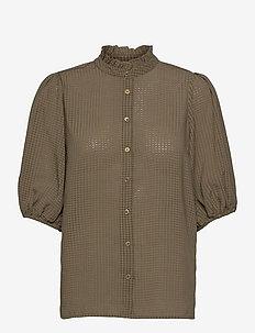 Tara SS Shirt - kortärmade blusar - stone green