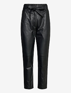 Indie Leather Trousers - slim fit bukser - caviar