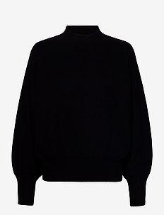 Octavia Knit T-Neck - gensere - black