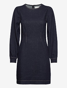 Antoinet Dress - fodralklänningar - dark blue denim
