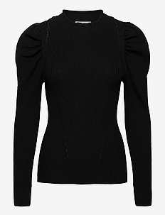 Canilla Knit T-Neck - langermede bluser - black