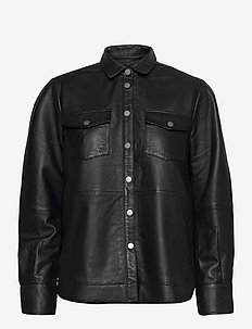 Gitte Leather Shirt - chemises à manches longues - black