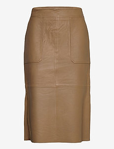 Francie Midi Leather Skirt - midi kjolar - butternut