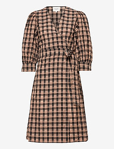Osla Wrap Dress - wrap dresses - bistre