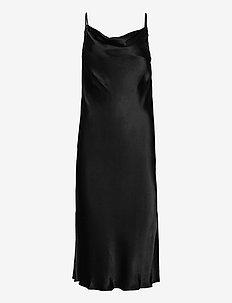 Long viscose dress with thin adjustable straps, sl its at si - midi kjoler - black