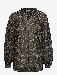 Della Blouse - blouses med lange mouwen - caviar