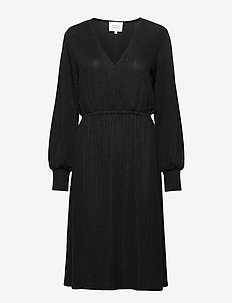 This wrap dress is made in a pleasant polyester  mix with sh - midi kjoler - black