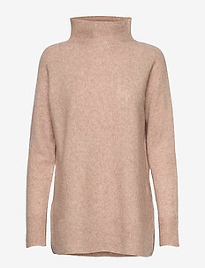 This knit with T-neck is made in a soft wool  blend. It has - neulepuserot - camel
