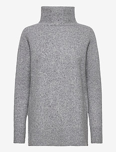 This knit with T-neck is made in a soft wool  blend. It has - rolkraagtruien - light grey melange
