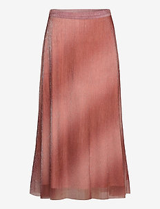Pleated, midi skirt in a beautiful shimmery  polyester mix q - midinederdele - dusty rose