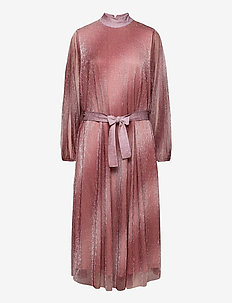 Pleated dress in a beautiful shimmery polyester  mix quality - aftonklänningar - dusty rose