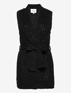 Knitted waistcoat made in a luxurious mohair  blend. It has - strikkevester - black