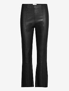 Joy Leather Bootcut Leggings - bukser - black