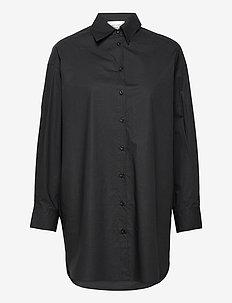 Larkin Oversized Shirt - långärmade skjortor - black