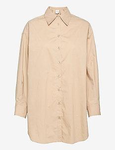 Larkin Oversized Shirt - långärmade skjortor - humus
