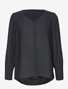 This shirt is made in a semi-shiny luxurious  polyester comp - langärmlige blusen - black