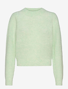 Brooky Knit Puff O-Neck - tröjor - clearly aqua