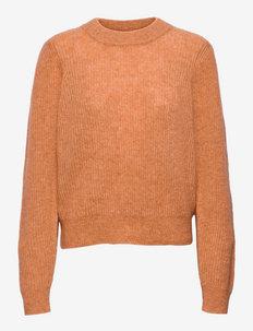 Brooky Knit Puff O-Neck - tröjor - toasted nut