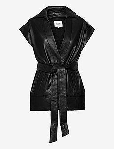 Indie Leather Waistcoat - frakker - black