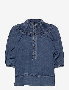 Jeanie Blouse - kortärmade blusar - blue denim
