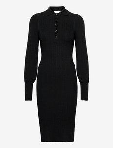 Canillu Knit Dress - fodralklänningar - black