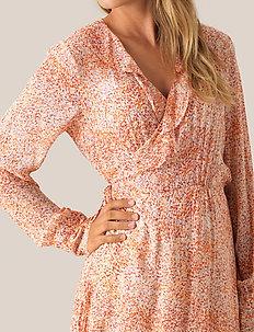Floral LS Wrap Dress - slå-om-kjoler - apricot brandy