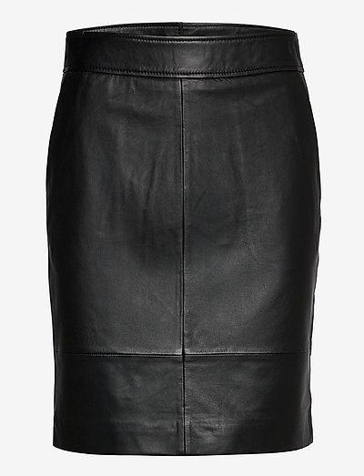 Francie Mini Leather Skirt - pencil skirts - black