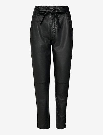 Indie Leather New Trousers - læderbukser - black