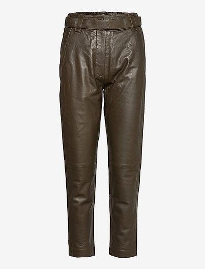 Indie Leather New Trousers - læderbukser - wren