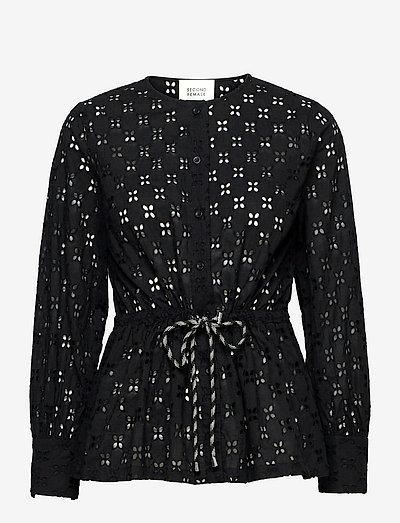 Thelma Shirt - långärmade blusar - black