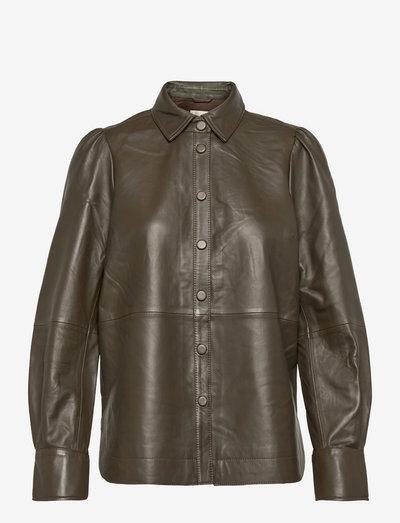 Edie Leather Puff Shirt - långärmade skjortor - wren