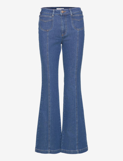 TROUSERS - flared jeans - truly navy