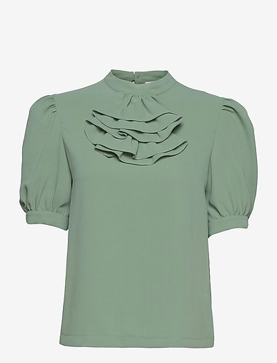 TOP - kurzämlige blusen - bluish green
