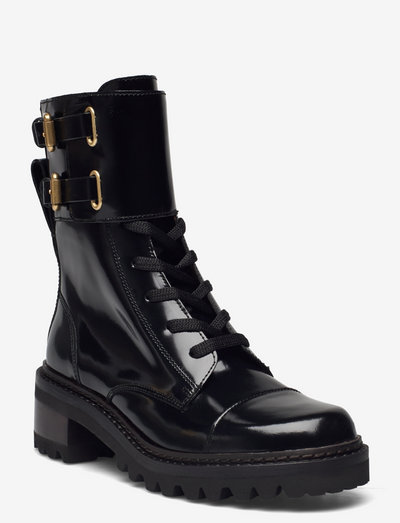 COMBAT - heeled ankle boots - black