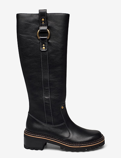 FLAT BOOT - lange laarzen - black