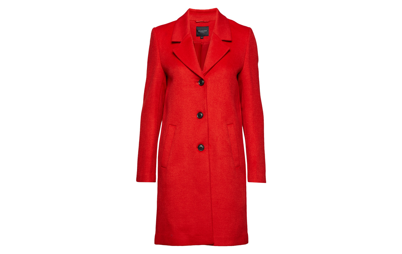 Selected Laine Polyester Red H Sfsasja 50 Femme Wool Camp Coat True PgfPrw