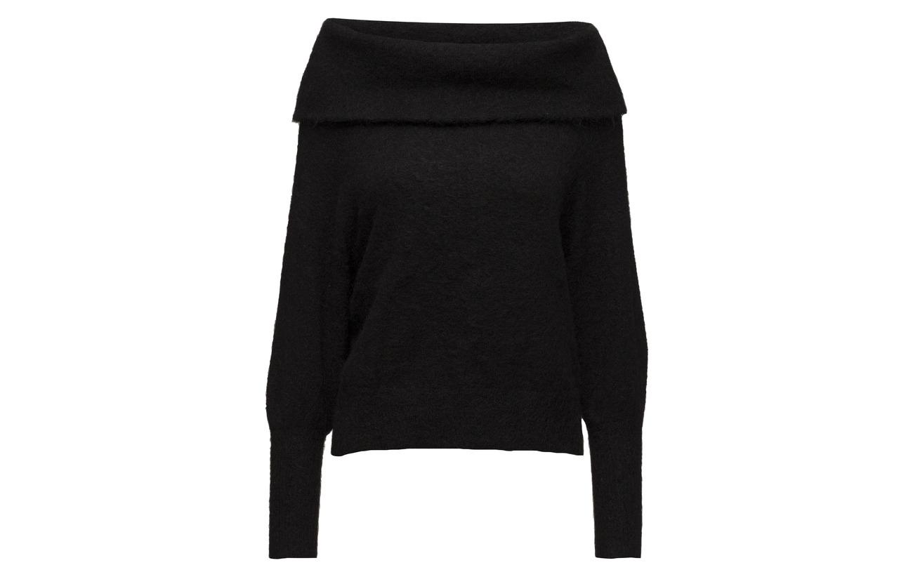 Selected Ls Elastane B Off 6 Mohair Laine Knit 32 30 Femme Black Slfkaila Nylon shoulder rfZqTrE