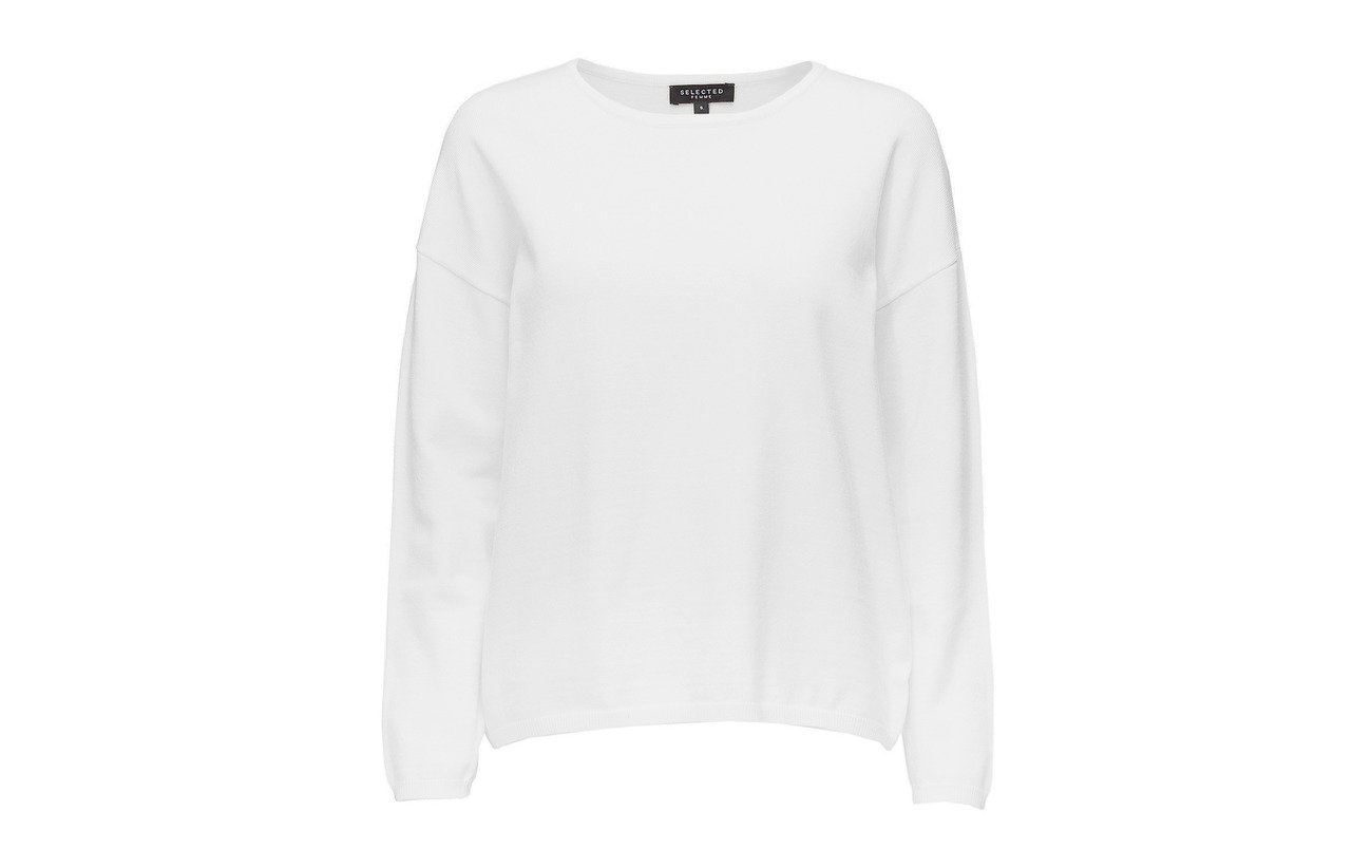 Acrylique Polyester 22 Viscose 20 White Snow Selected O 28 Noos Knit neck Femme Slfminna Ls 30 Nylon wOwxS7vfq