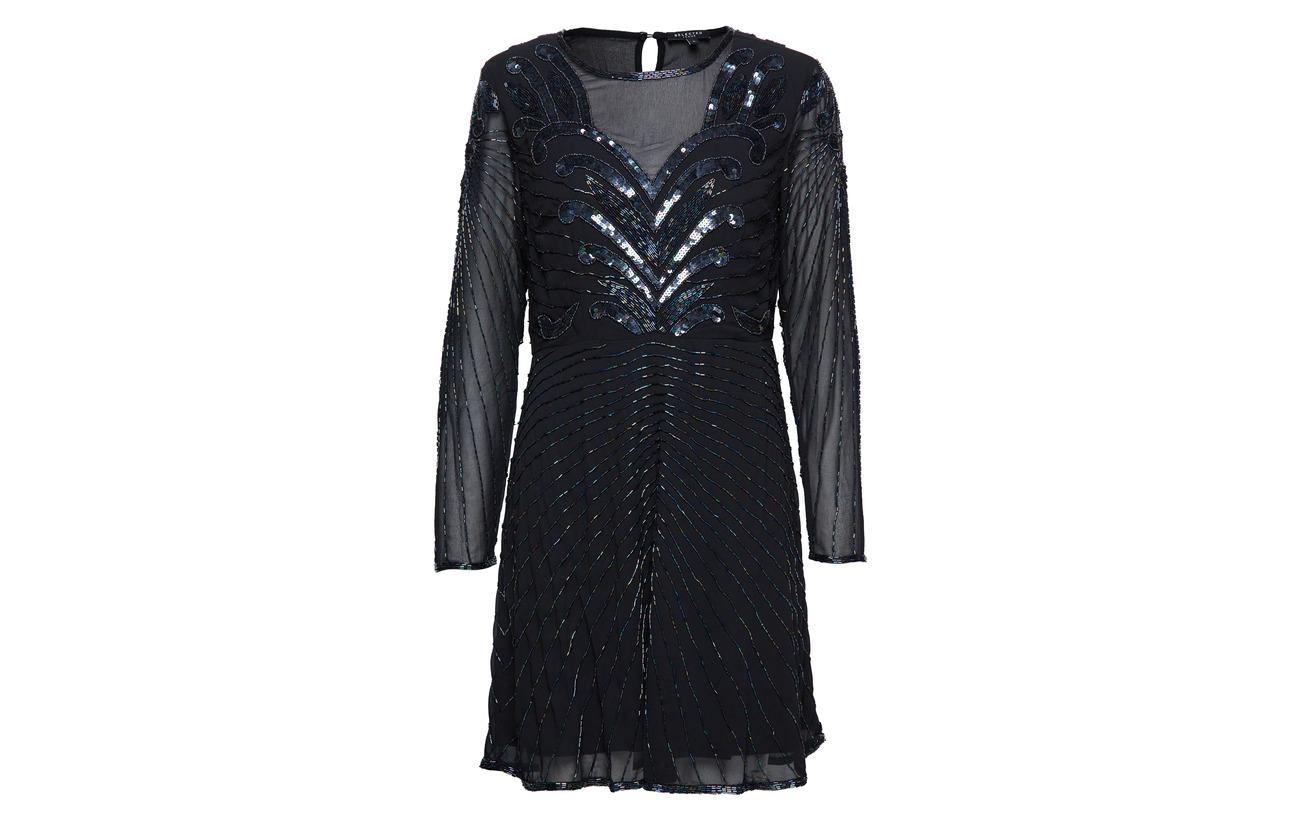 100 Femme B Slfjuna Polyester Beaded Black Ls Short Dress Selected FHqC14xC
