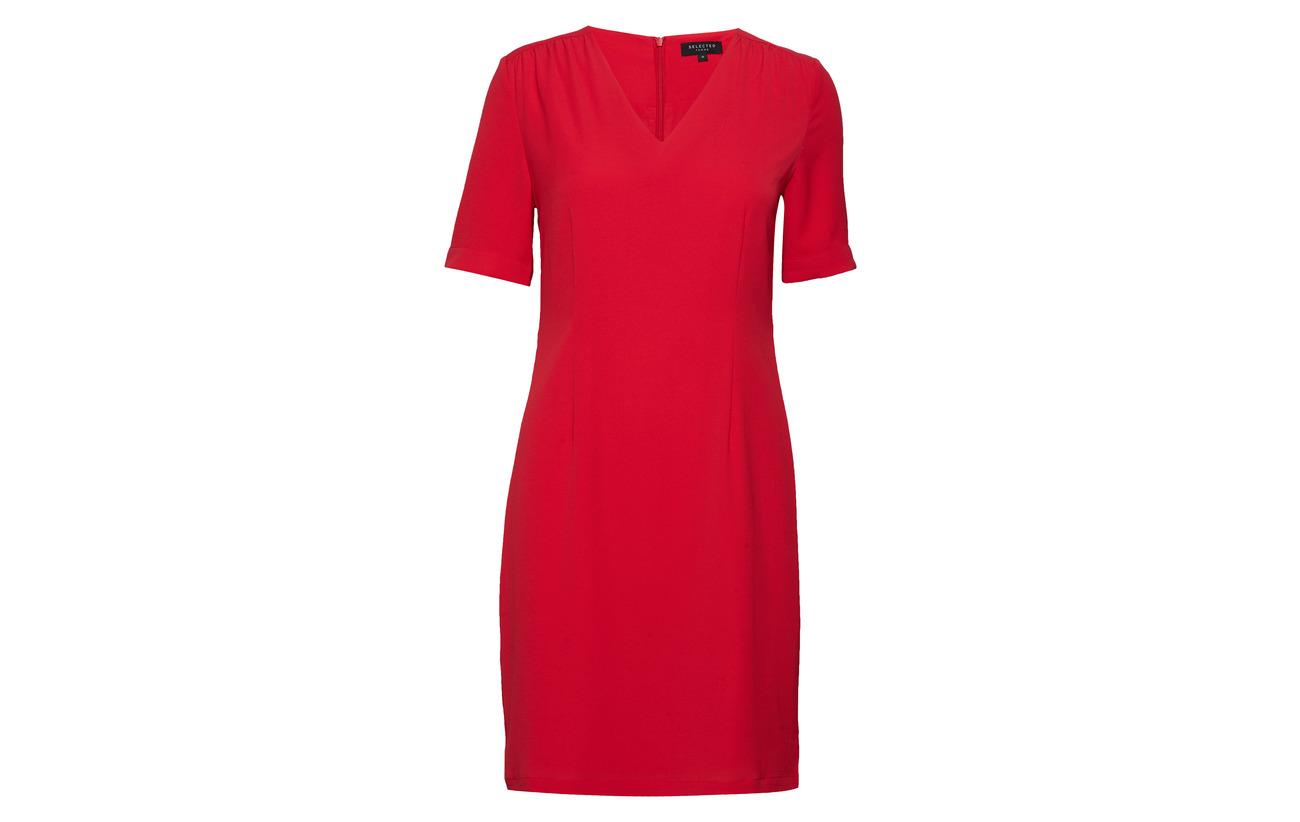 Polyester True Selected 37 Ss 3 Dress Femme 60 B Recyclé Slfluisa Elastane Red Short vxqxZwAYC
